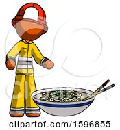 Orange Firefighter Fireman Man And Noodle Bowl Giant Soup Restaraunt Concept