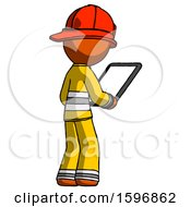 Orange Firefighter Fireman Man Looking At Tablet Device Computer Facing Away