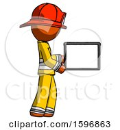 Orange Firefighter Fireman Man Show Tablet Device Computer To Viewer Blank Area