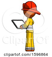 Orange Firefighter Fireman Man Looking At Tablet Device Computer With Back To Viewer