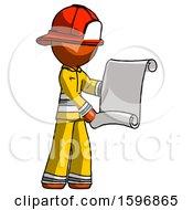Orange Firefighter Fireman Man Holding Blueprints Or Scroll