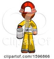 Orange Firefighter Fireman Man Begger Holding Can Begging Or Asking For Charity