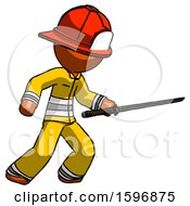 Orange Firefighter Fireman Man Stabbing With Ninja Sword Katana