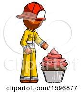 Orange Firefighter Fireman Man With Giant Cupcake Dessert