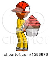Orange Firefighter Fireman Man Holding Large Cupcake Ready To Eat Or Serve