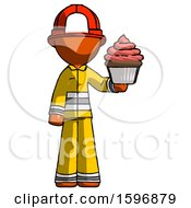 Orange Firefighter Fireman Man Presenting Pink Cupcake To Viewer