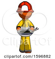 Orange Firefighter Fireman Man Serving Or Presenting Noodles