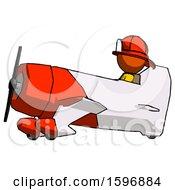 Orange Firefighter Fireman Man In Geebee Stunt Aircraft Side View