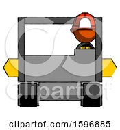 Orange Firefighter Fireman Man Driving Amphibious Tracked Vehicle Front View
