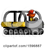 Orange Firefighter Fireman Man Driving Amphibious Tracked Vehicle Side Angle View