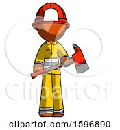 Orange Firefighter Fireman Man Holding Red Fire Fighters Ax