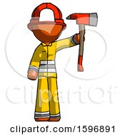Orange Firefighter Fireman Man Holding Up Red Firefighters Ax