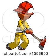 Orange Firefighter Fireman Man Striking With A Red Firefighters Ax