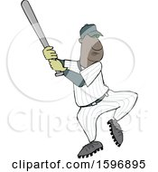 Cartoon Black Male Baseball Player Batting