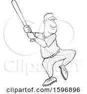 Clipart Of A Cartoon Lineart Black Male Baseball Player Batting Royalty Free Vector Illustration