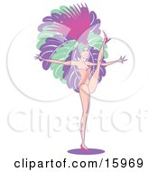 Female Vegas Showgirl Wearing Feathers Dancing While Entertaining A Casino Crowd