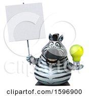 Poster, Art Print Of 3d Zebra Holding A Light Bulb On A White Background