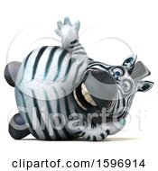 Clipart Of A 3d Zebra Waving On A White Background Royalty Free Illustration