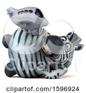 Clipart Of A 3d Zebra Holding A Plane On A White Background Royalty Free Illustration