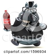 Clipart Of A 3d Business Zebra Holding A Soda On A White Background Royalty Free Illustration by Julos