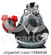 Clipart Of A 3d Business Zebra Holding An Alarm Clock On A White Background Royalty Free Illustration by Julos