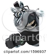 Clipart Of A 3d Business Zebra Holding A Camera On A White Background Royalty Free Illustration by Julos