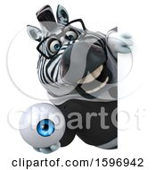 Clipart Of A 3d Business Zebra Holding An Eyeball On A White Background Royalty Free Illustration by Julos