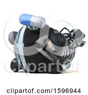3d Business Zebra Holding A Pill On A White Background