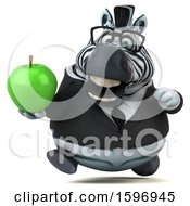 Clipart Of A 3d Business Zebra Holding An Apple On A White Background Royalty Free Illustration by Julos