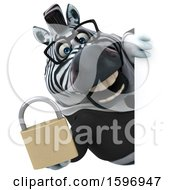Clipart Of A 3d Business Zebra Holding A Padlock On A White Background Royalty Free Illustration by Julos