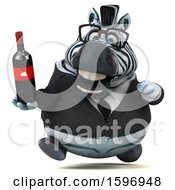Clipart Of A 3d Business Zebra Holding Wine On A White Background Royalty Free Illustration by Julos
