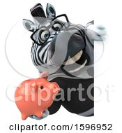 Clipart Of A 3d Business Zebra Holding A Piggy Bank On A White Background Royalty Free Illustration by Julos