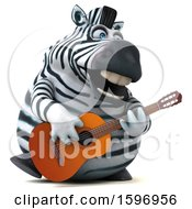 3d Zebra Playing A Guitar On A White Background