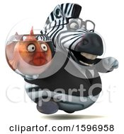 Clipart Of A 3d Business Zebra Holding A Fish Bowl On A White Background Royalty Free Illustration by Julos
