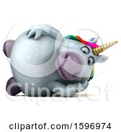 Clipart Of A 3d Chubby Unicorn Resting On A White Background Royalty Free Illustration