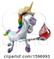 Clipart Of A 3d Cowboy Unicorn Holding A Blood Drop On A White Background Royalty Free Illustration