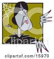 Poster, Art Print Of Old Gray Witch With Black Hair Peeking Around A Corner With A Spider And Web
