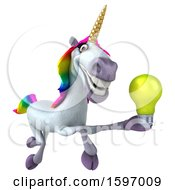 Poster, Art Print Of 3d Unicorn Holding A Light Bulb On A White Background