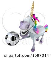 3d Unicorn Holding A Soccer Ball On A White Background