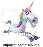 Clipart Of A 3d Unicorn Running On A White Background Royalty Free Illustration by Julos