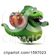 3d Green T Rex Dinosaur Holding A Fish Bowl On A White Background