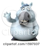 Clipart Of A 3d Chubby White Horse Waving On A White Background Royalty Free Illustration by Julos