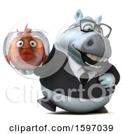 3d Chubby White Business Horse Holding A Fish Bowl On A White Background