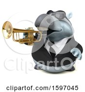 3d Chubby White Business Horse Playing A Trumpet On A White Background