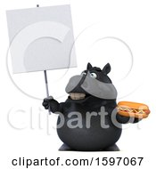 Clipart Of A 3d Chubby Black Horse Holding A Hot Dog On A White Background Royalty Free Illustration