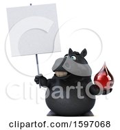 Clipart Of A 3d Chubby Black Horse Holding A Blood Drop On A White Background Royalty Free Illustration
