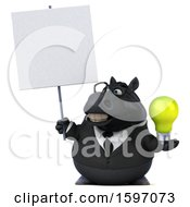 Poster, Art Print Of 3d Chubby Black Business Horse Holding A Light Bulb On A White Background