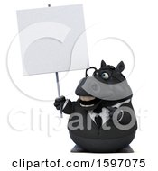 Clipart Of A 3d Chubby Black Business Horse Holding A Sign On A White Background Royalty Free Illustration