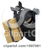 Clipart Of A 3d Chubby Black Horse Holding Boxes On A White Background Royalty Free Illustration