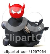 Clipart Of A 3d Chubby Black Horse Holding A Devil On A White Background Royalty Free Illustration